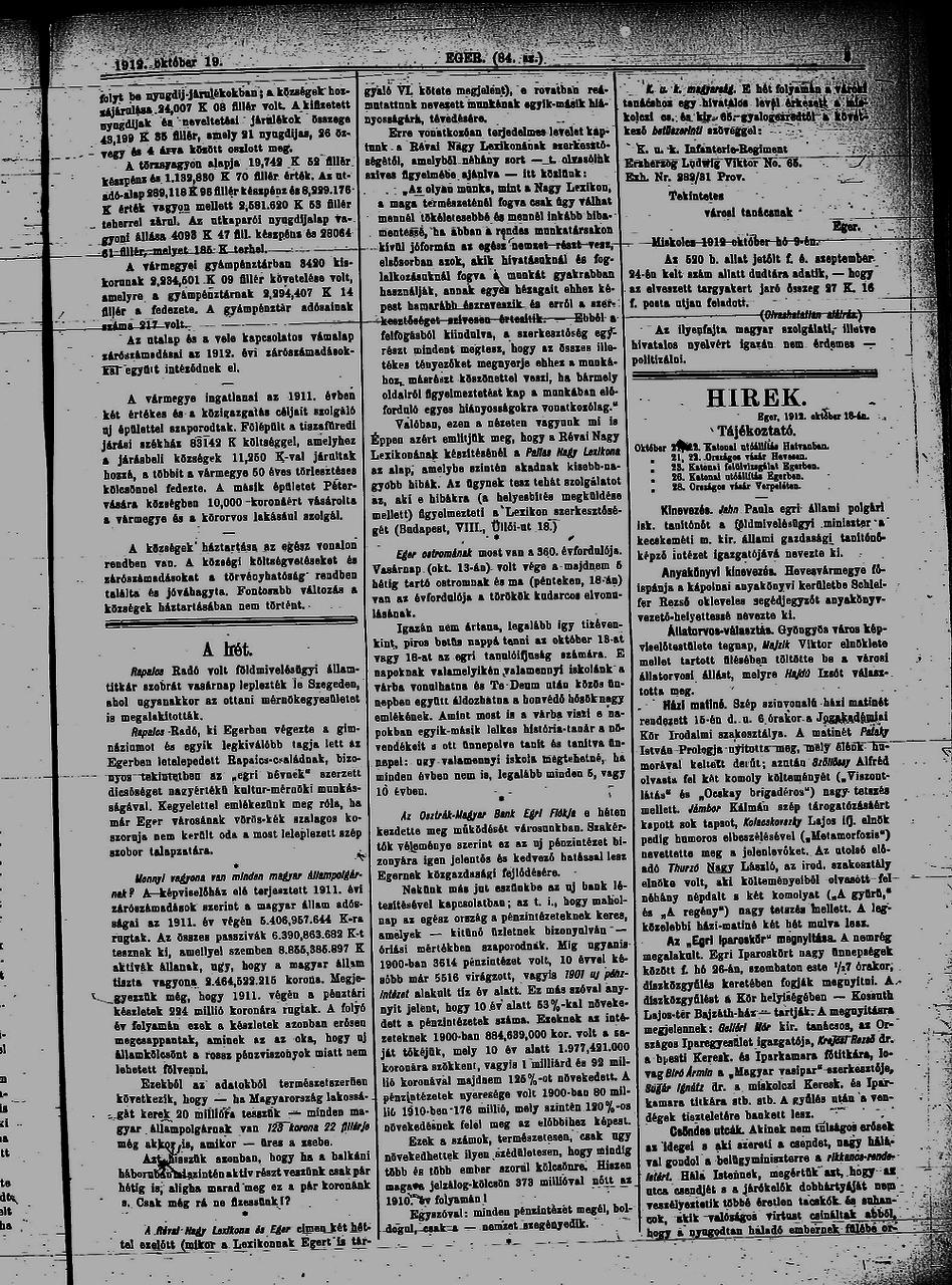 EGER 1912 okt. 13.