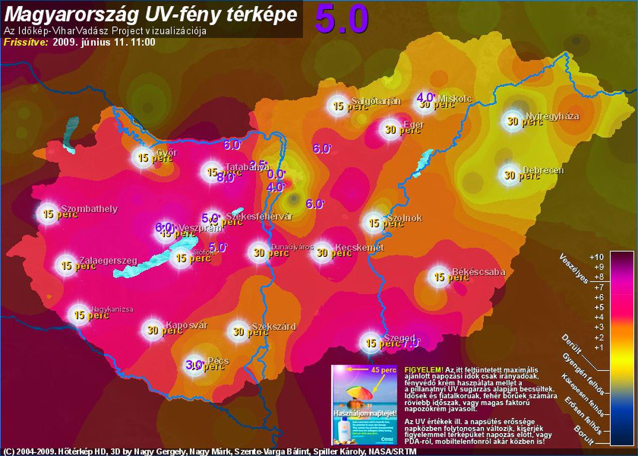 uv térkép Rendkívüli UV B sugárzás van ma uv térkép